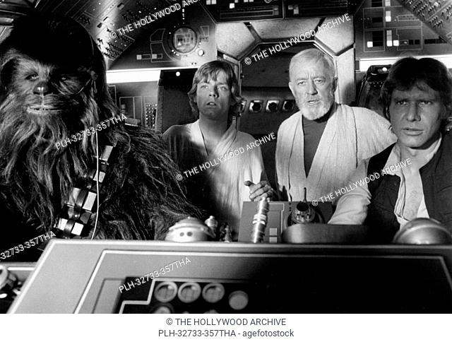 Peter Mayhew, Mark Hamill, Alec Guinness and Harrison Ford, Star Wars Episode IV: A New Hope 1977 Lucasfilm Ltd