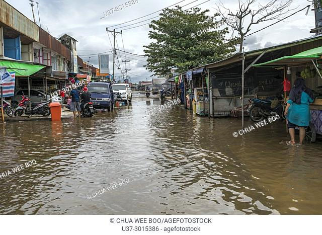 King tide in Sei Kakap bazaar, Pontianak, West Kalimantan, Indonesia