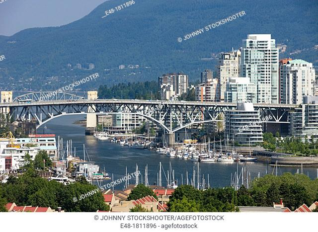 BURRARD STREET BRIDGE FALSE CREEK VANCOUVER SKYLINE BRITISH COLUMBIA CANADA