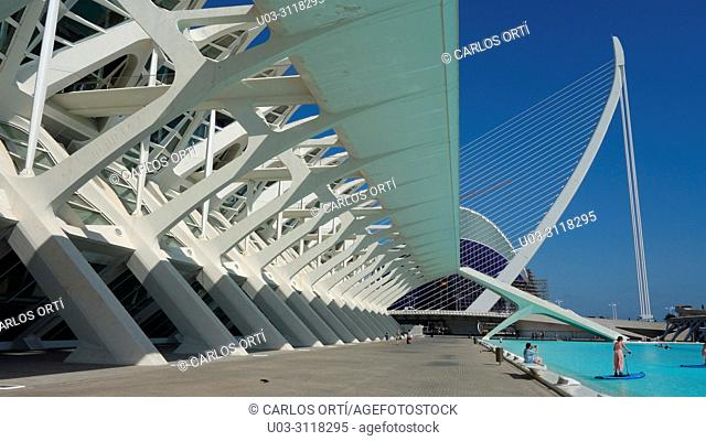 "Tourists relaxing in the complex ""City of Arts and Sciences"" in the mediterranean city of Valencia, Spain, Europe"