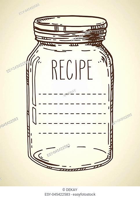 Recipe template. Vector hand drawn illustration with vintage jar. Contour sketch in brown isolated over beige