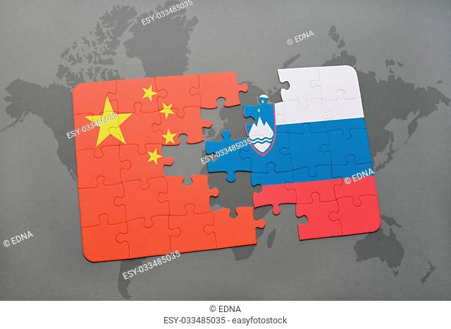 puzzle with the national flag of china and slovenia on a world map background. 3D illustration