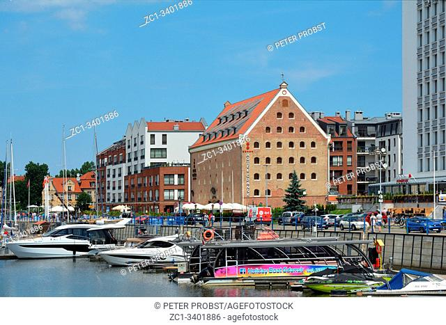 Gdansk, Pomeranian, Poland - June 19, 2019: Marina on the river Motlawa in the Polish city Gdansk - Poland