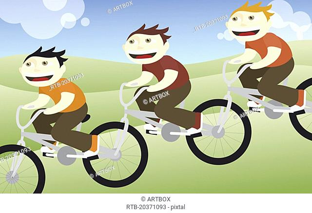 Side profile of three boys riding bicycles