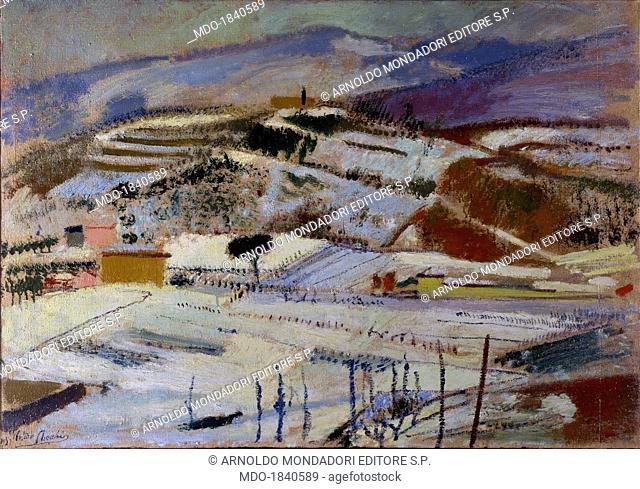Snowfall, by Arturo Cecchi, 1935, 20th Century, oil on canvas, 75 x 117 cm. Italy, Umbria, Perugia, Academy of Fine Arts. Whole artwork view