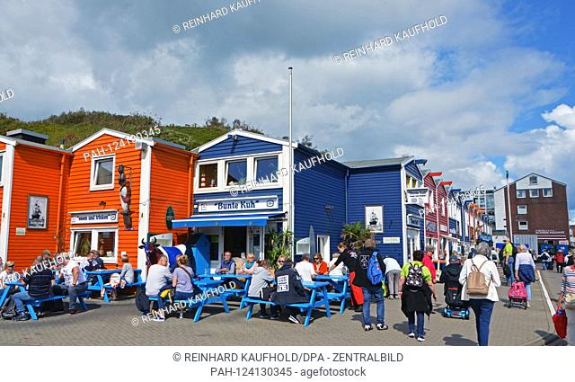 Colorful lobster booths at the south harbor of the North Sea island Helgoland, taken on 07.09.2019   usage worldwide. - Helgoland/Schleswig Holstein/Deutschland