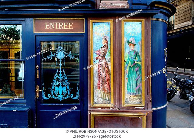 Paris, France. Restaurant Laperouse at 51 Quai des Grands Augustins, (6th Arr) - paintings on the facade