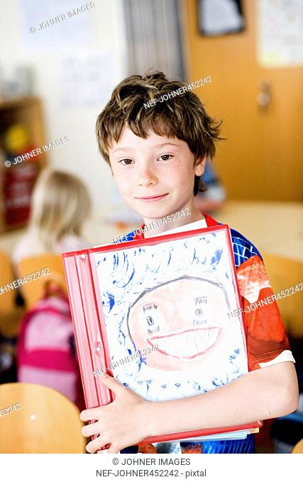 Portrait of a boy in a classroom, Sweden