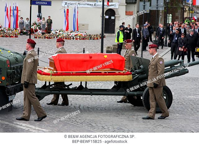17.04.2010 Cracow, Poland. The funeral of President of the Republic of Poland Lech Kaczynski and his wife Maria. They died in the Smolensk crash