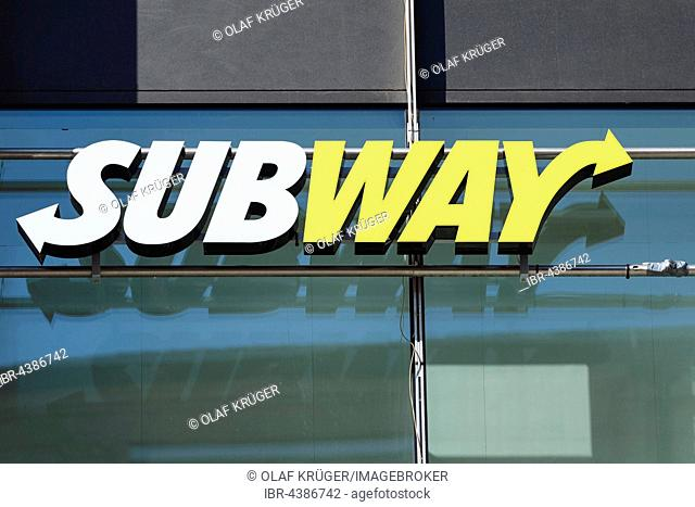Fast food chain logo, Subway, Stuttgart, Baden-Württemberg, Germany