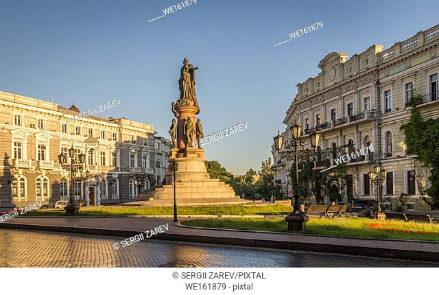 Monument to the founders of Odessa in Ukraine at the summer morning