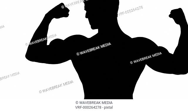Muscular silhouette of man flexing muscles