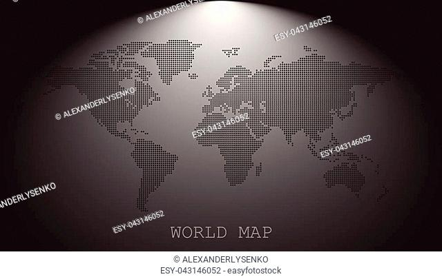 Dotted blank black world map isolated on grey background. World map vector template for website, infographics, design. Flat earth world map with round dots...