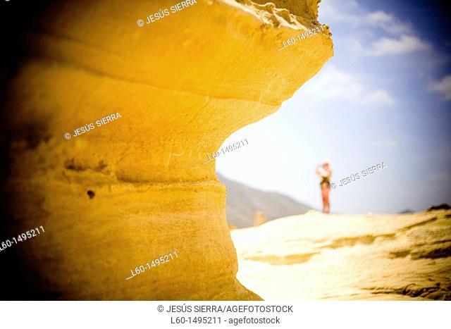 Rock in El Playazo, Cabo de Gata, Almeria, Spain