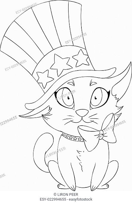 Independence Day Kitten Coloring Page