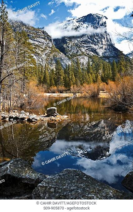 United States of America, California, Yosemite Village, Curry Village, Yosemite National Park, Basket Dome reflection in the water of Mirror Lake, Tenaya Creek
