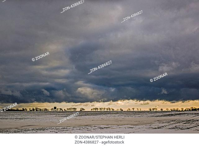 Ruegen in winter - Clouds about Varnkewitz/Wittow