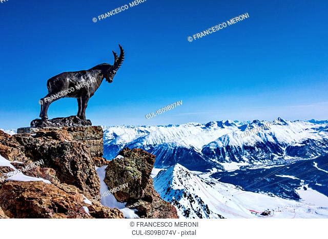 Mountain goat statue on ridge in snow covered mountains, Sankt Moritz, Engadin, Switzerland