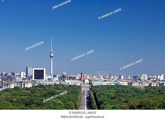 View of the Victory Column on the Mitte District of Berlin,with the Brandenburg Gate, television tower and Reichstag, Berlin, Germany