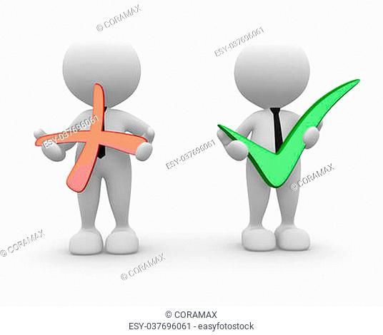 3d people - men, person with positive and negative symbol