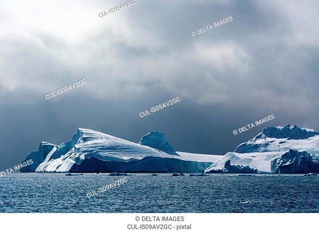 Icebergs and overcast sky, Ilulissat icefjord, Disko Bay, Greenland