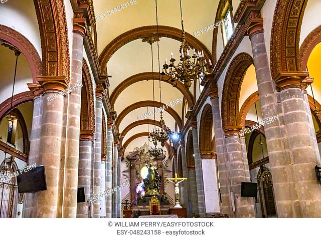 Basilica Arches Our Lady of Assumption Cathedral Church Oaxaca Juarez Mexico. Began 1533