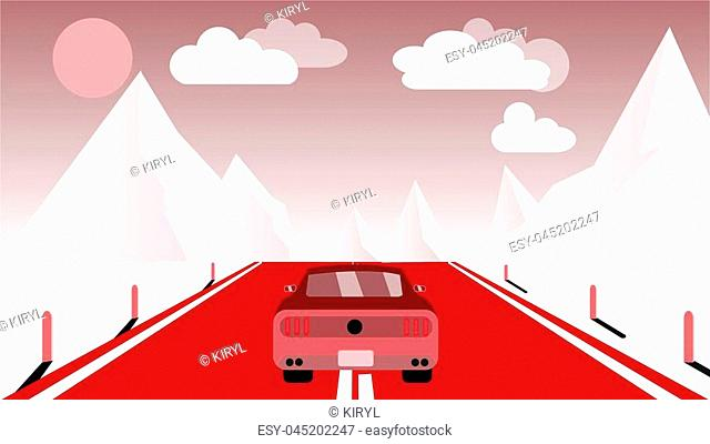 A fast racing sports red car rides a trip to the mountains along the road against the backdrop of pink mountains, sun and clouds