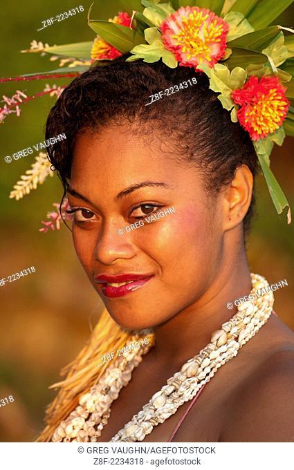 Frances Jawesini, dance performer at Shangri-La Resort, Coral Coast, Viti Levu Island, Fiji