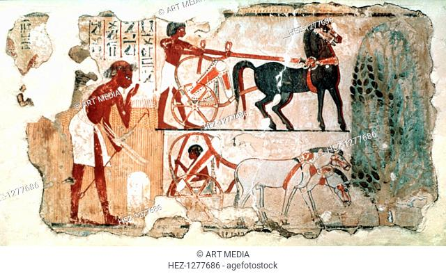 Inspecting the Fields, 1350 BC. Fragment of wall painting from the tomb of Nebamun, British Museum