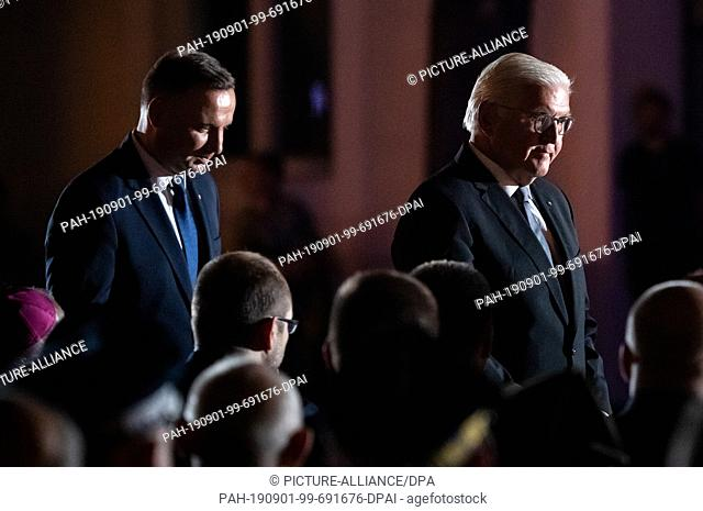 01 September 2019, Poland, Wielun: Federal President Frank-Walter Steinmeier (r) and Polish President Andrzej Duda will jointly take part in the commemoration...