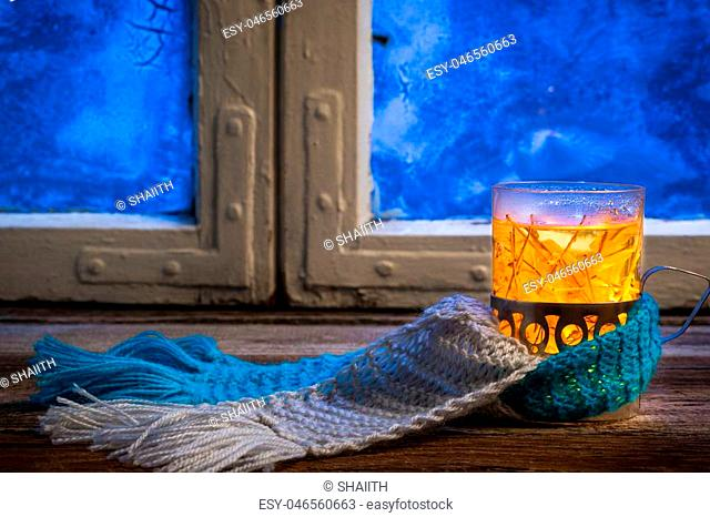 Winter evening and hot tea