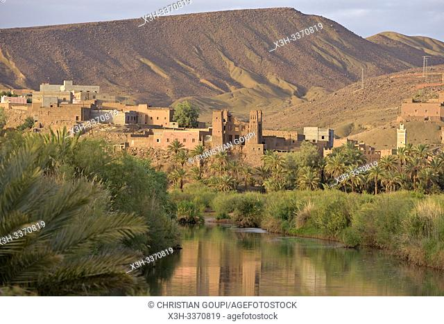 village of Taliouine on the banks of the River Draa, in the large palm grove at Agdz, Mount Kissane (Jbel Kissane), Draa-Tafilet region, Morocco