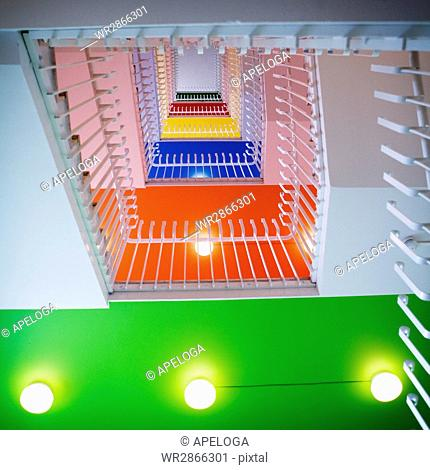 Low angle view of railings in multi colored building