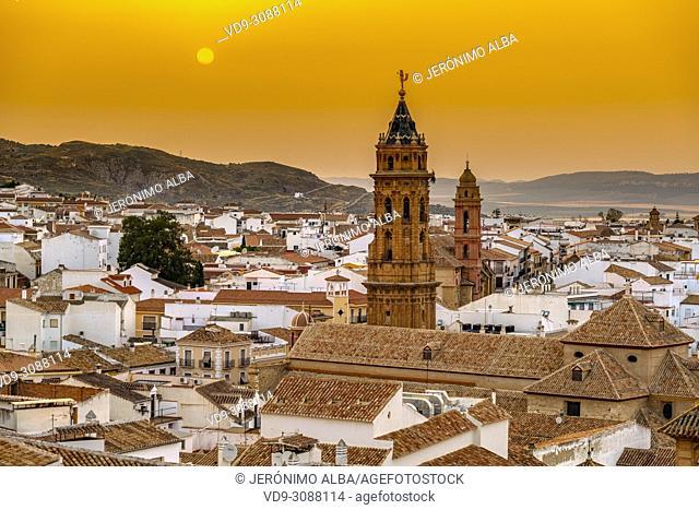 San Sebastian church at dusk, monumental city Antequera. Malaga province Andalusia. Southern Spain Europe