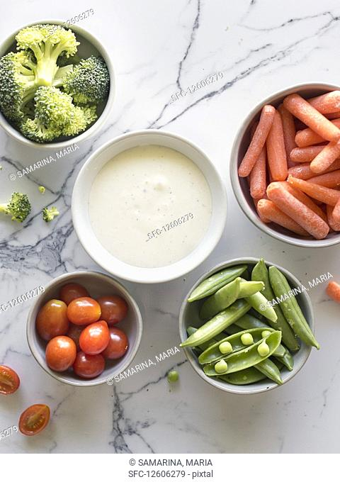 Veggie snack with ranch sauce