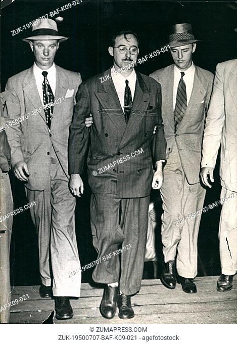 Jul. 07, 1950 - Rosenberg arrested as Atom Spy. Photo shows FBI agents escort Julius Rosenberg (centre), a 32 year old engineer