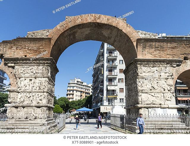 The, Roman, Arch of Galerius on Egnatia street in the center of Thessaloniki, , Macedonia, Northern Greece