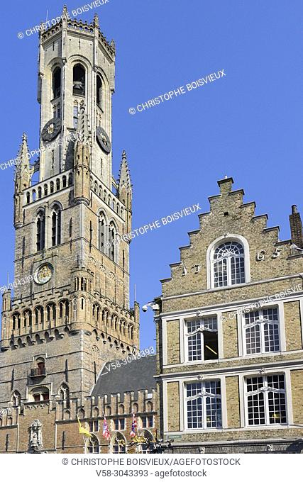 Belgium, Bruges, World Heritage Site, Markt square and belfry