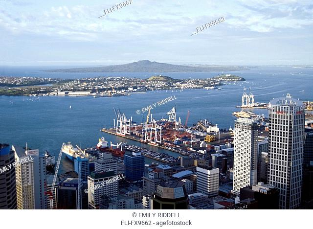 Waterfront, Auckland Harbour from Sky Tower restaurant, Auckland, New Zealand