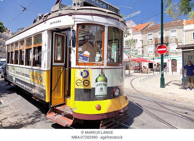 Tram in the district Alfama, Lisbon, Portugal