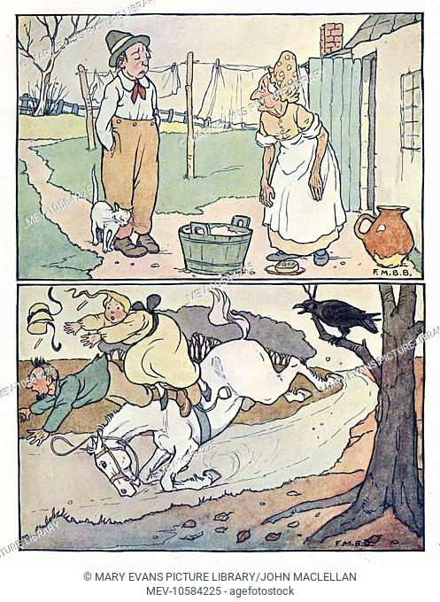 Nursery Rhymes -- two illustrations. Above -- a man and a woman on wash day. Below -- a crow startles a horse so much that the two riders are thrown off