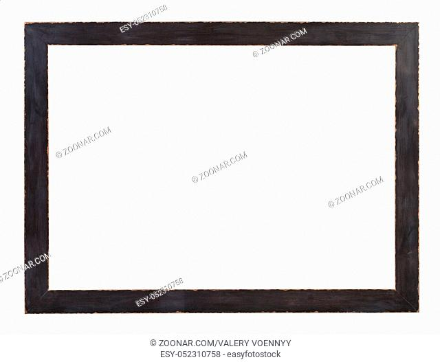modern flat dark gray painted wooden picture frame with cut out canvas isolated on white background