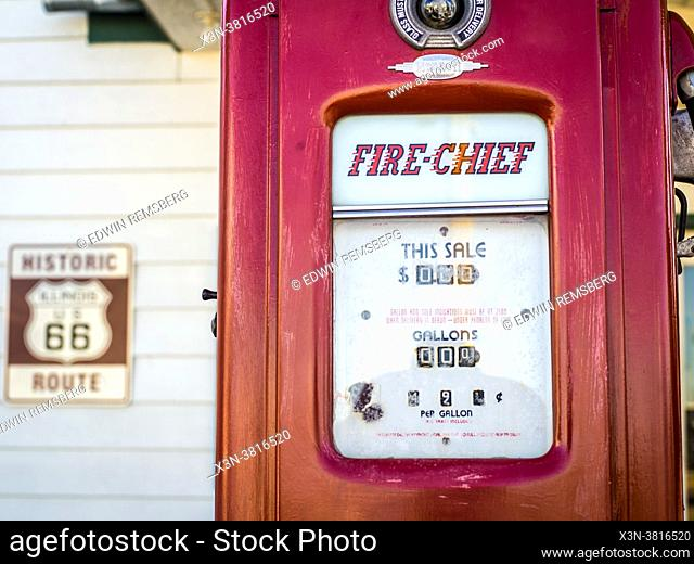 Old-style gas pump along roadside of Historic Route 66 Towanda, Ilinois