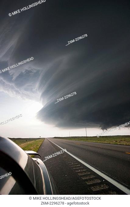 Very intense high precipitation supercell storm moves south in the Nebraska Sand Hills south of Valentine, July 13, 2009