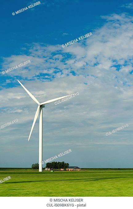 Wind turbine on farmland, Kamperland, Zeeland, Netherlands
