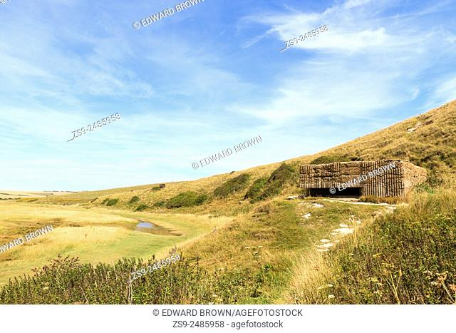 WW2 pillbox at Cuckmere Haven, East Sussex, England, UK. Editorial use only. No releases available