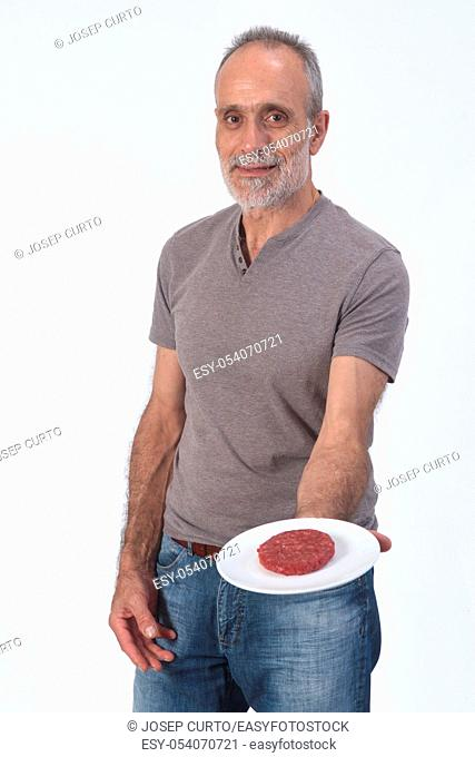 man with burger on white background