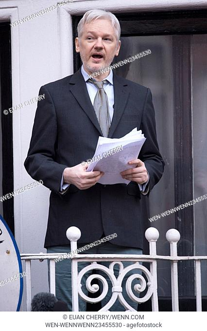 Julian Assange addresses the press at the Embassy of Ecuador in London where he has sought refuge. Featuring: Julian Assange Where: London