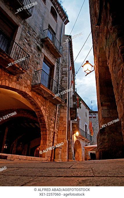 Street, sunset, Besalu, Catalonia, Spain