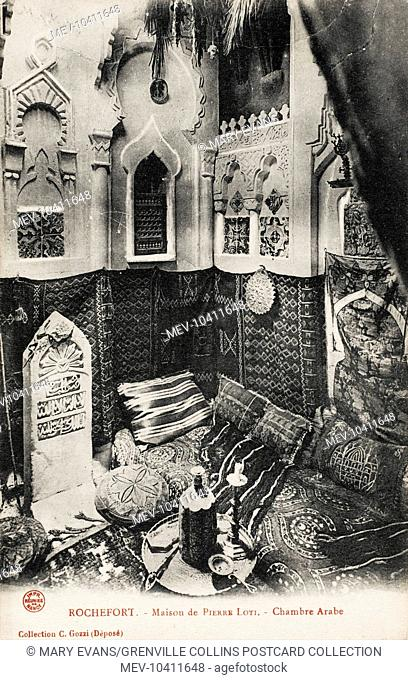 The Arab Room in the House of Pierre Loti (1850 - 1923) at Rochefort, France. Another room (or possibly another section of the pictured room) is an Orientalist...